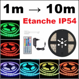 Ruban LED RGB étanche IP 54 kit complet