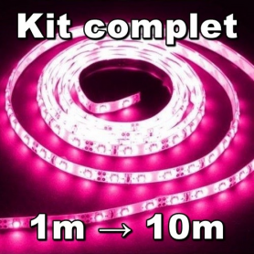 Ruban LED 3528 bleu kit complet de 1 à 10 mètres